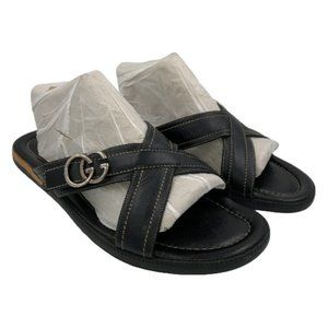 Gucci Men's Black Leather Sandals Size 9G